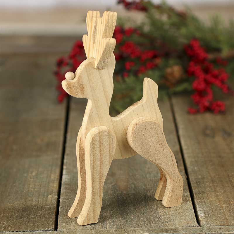 Unfinished wood standing reindeer figurine holiday craft for Unfinished wood pieces for crafts