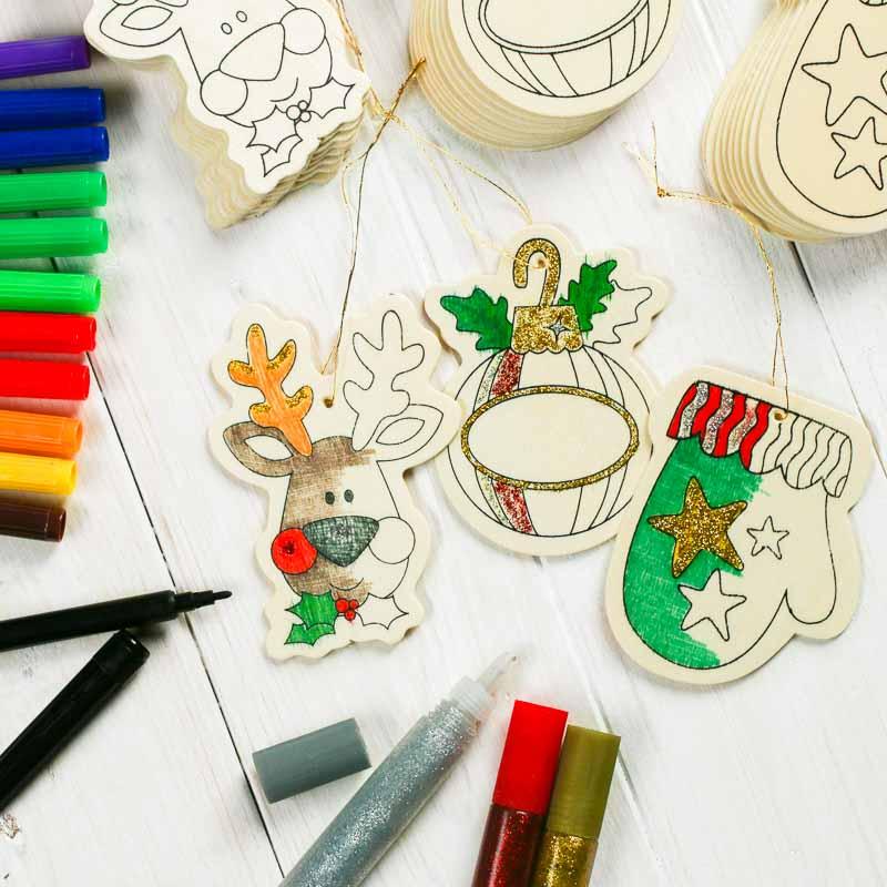 Wood cutout ornaments kid 39 s craft kit kids craft kits for Wood cutouts for crafts