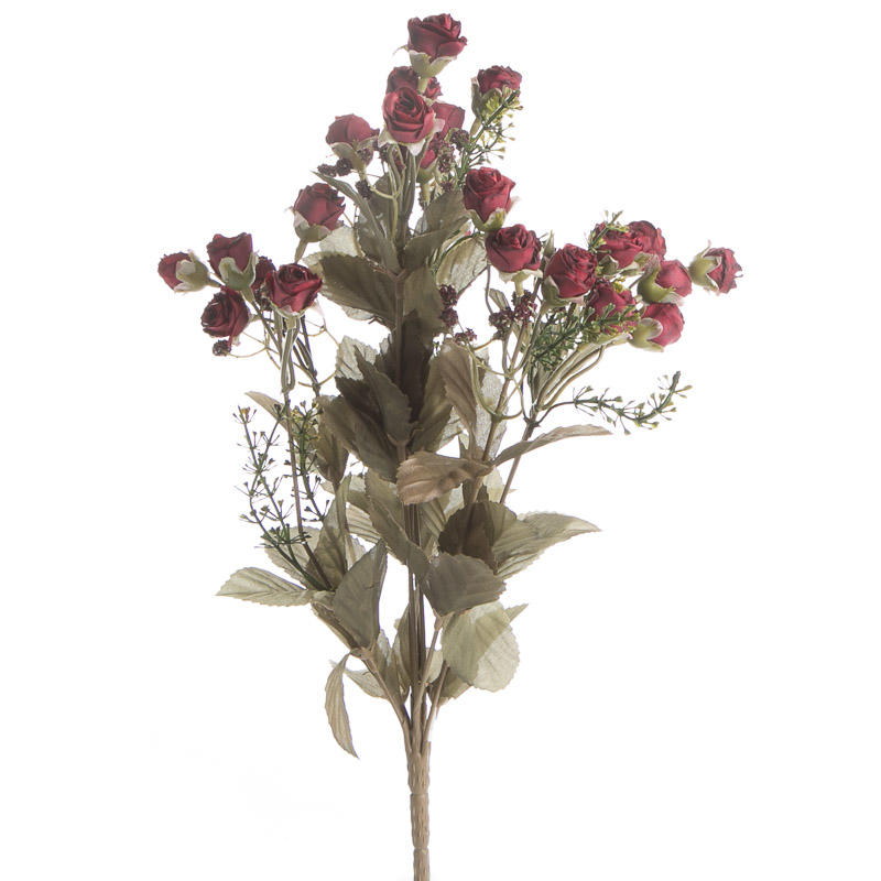 Small Dark Red Artificial Dried Antique Rose Bush Bushes