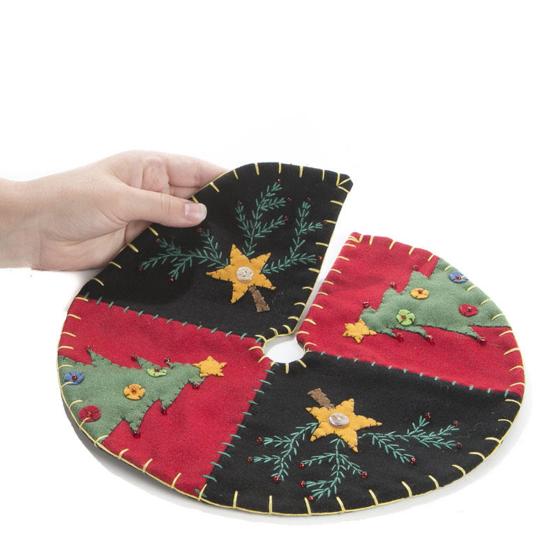 Small Christmas Tree and Star Hand Embroidered Tree Skirt ...