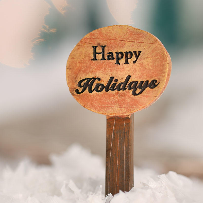 Miniature Faux Wood Happy Holidays Sign