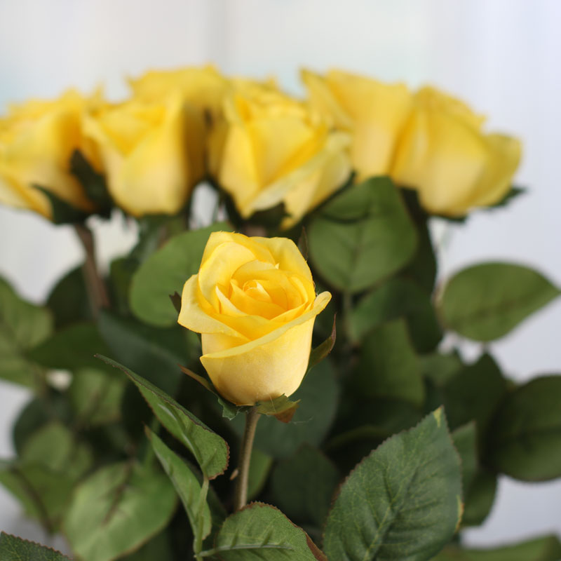 Dozen Yellow Artificial Long Stem Roses Bushes