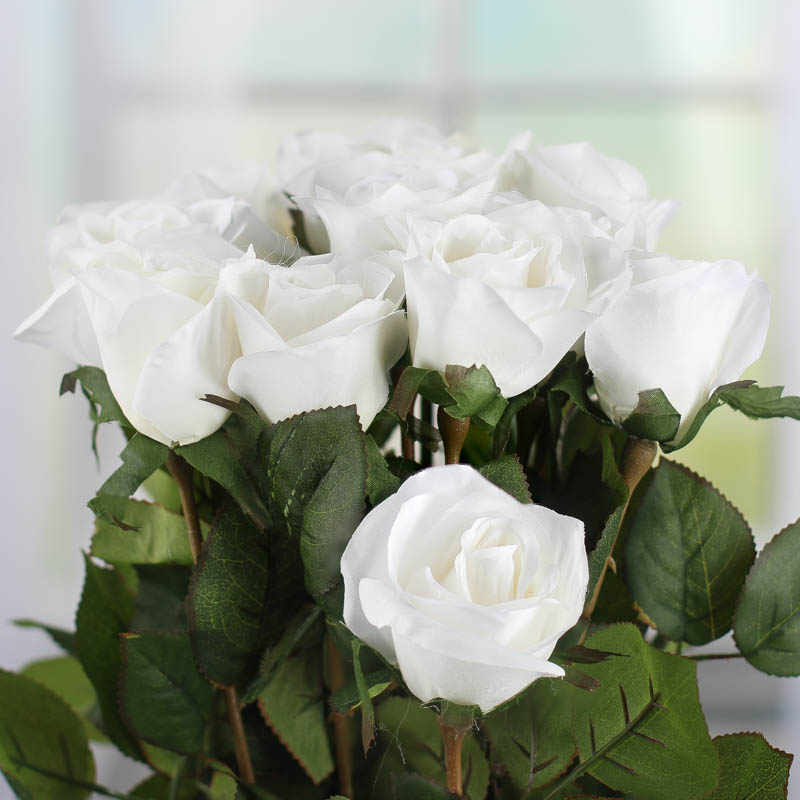 Dozen White Artificial Long Stem Roses Picks Sprays