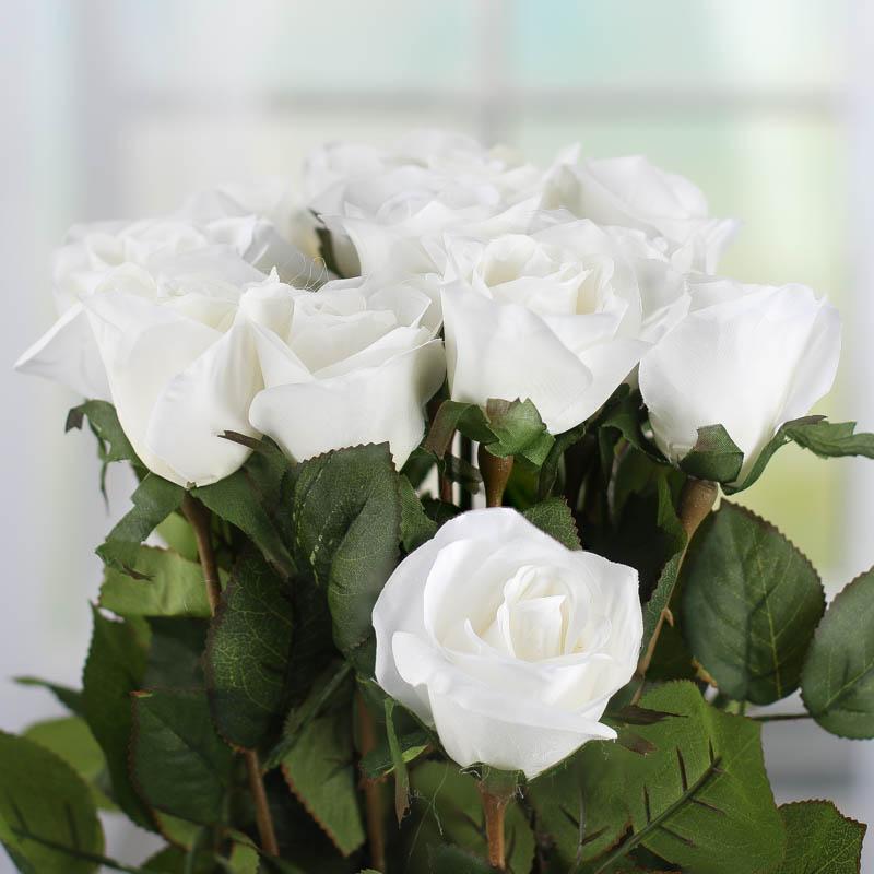 Dozen White Artificial Long Stem Roses Picks And Stems Floral