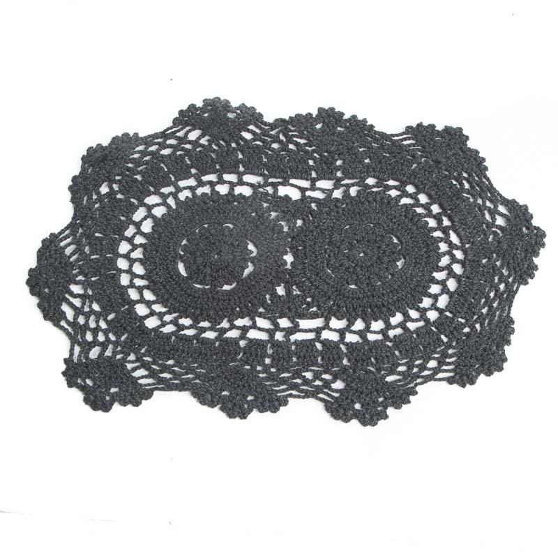 Black Oval Crocheted Doily Crochet And Lace Doilies Home Decor