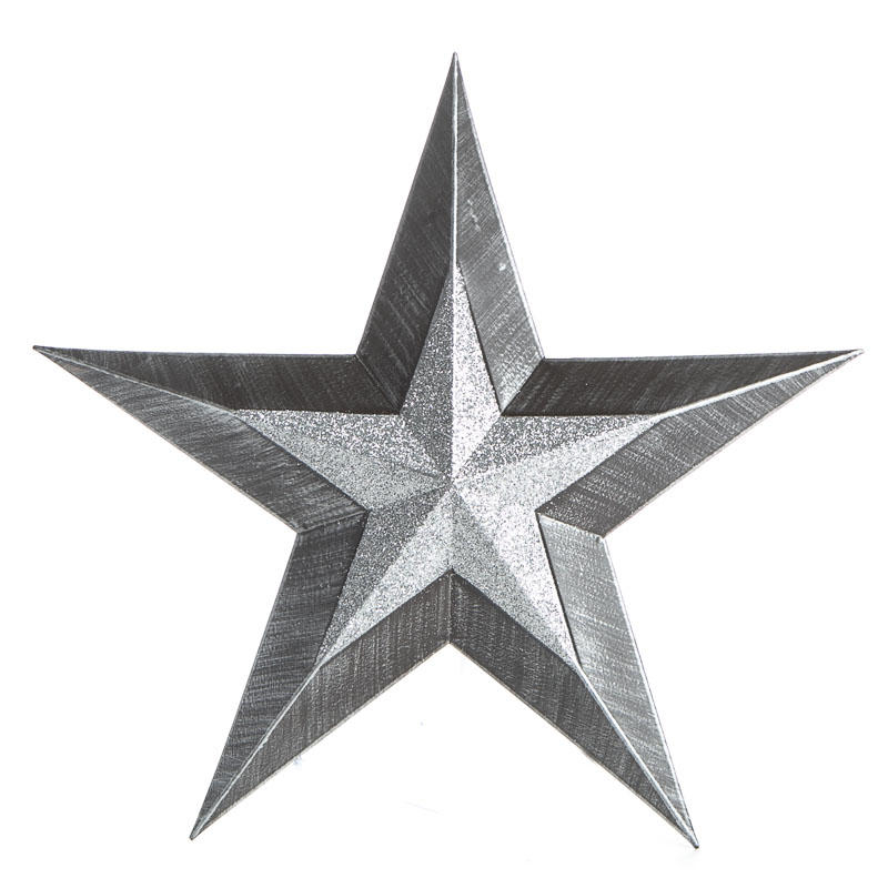 Sparkling rustic black and silver barn star barn stars for Barn star decorations home