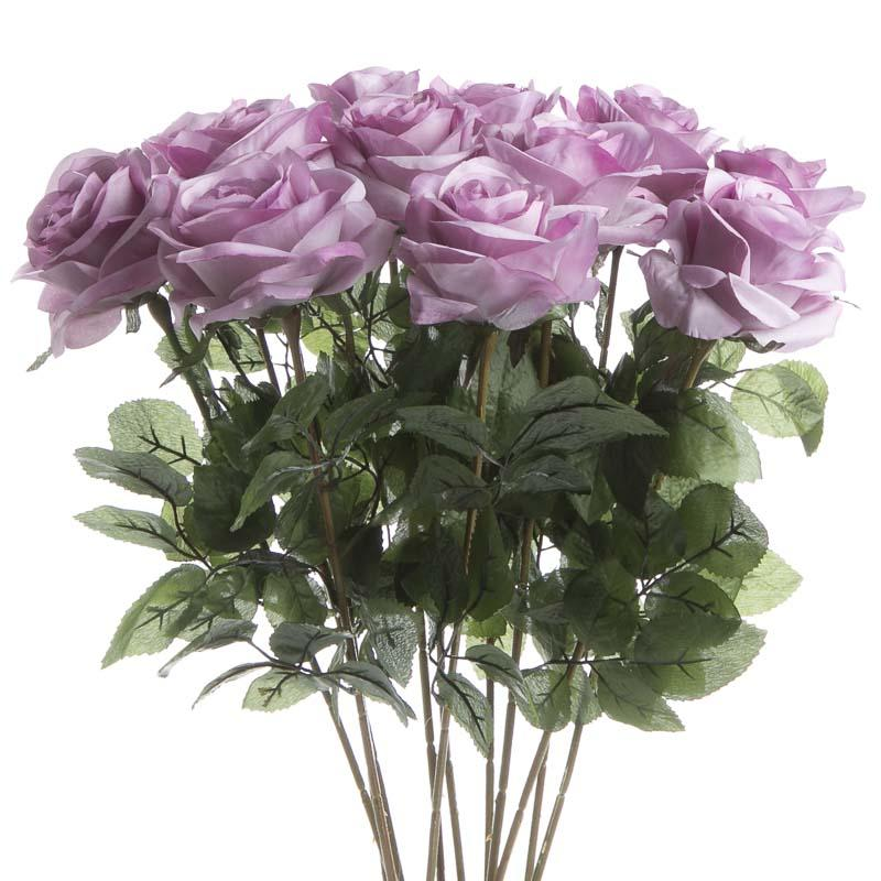 Lavender Artificial Long Stem Roses Bushes Bouquets