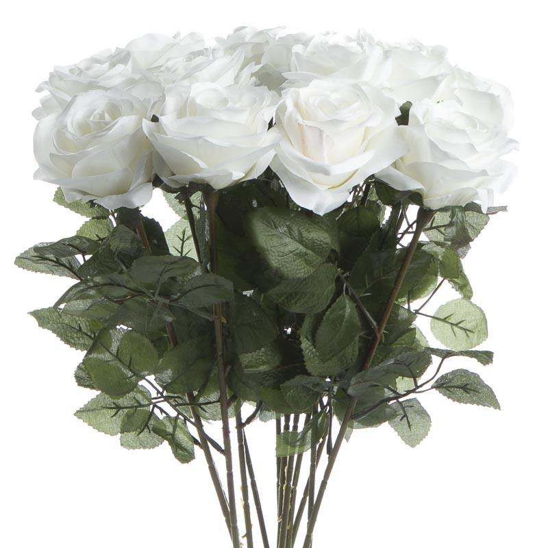 White Artificial Long Stem Roses Bushes And Bouquets