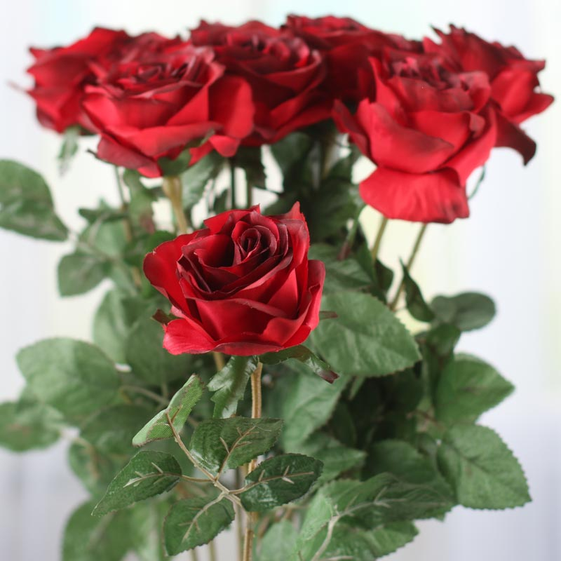 Dark Red Artificial Long Stem Roses Picks And Stems