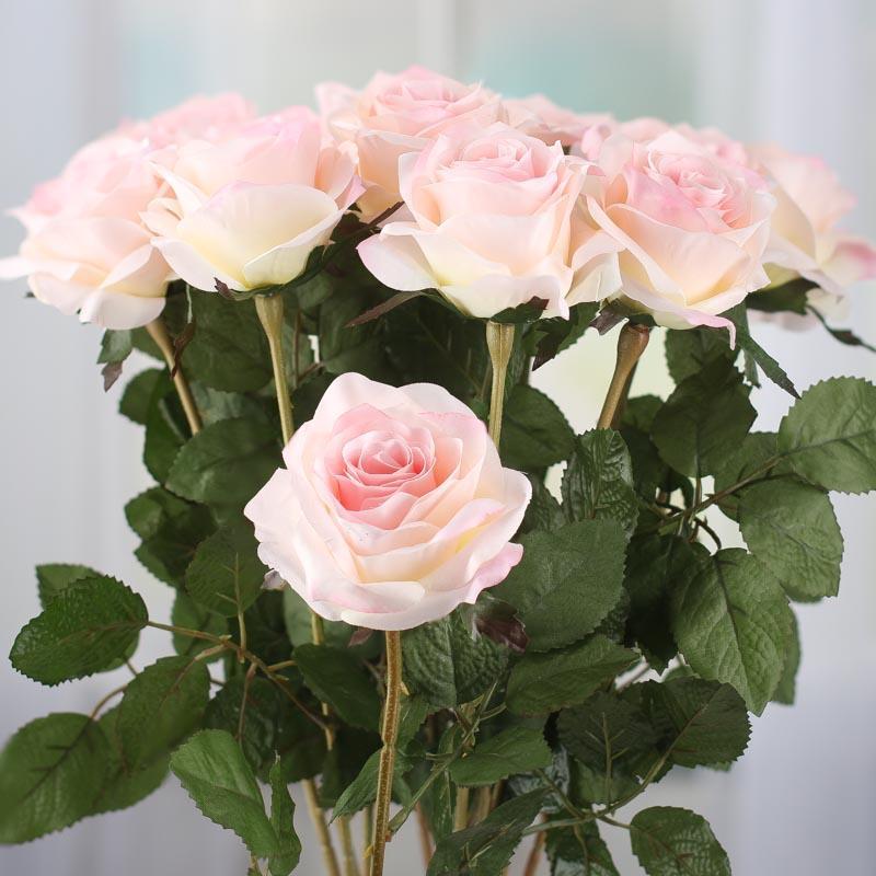 Cream And Pink Artificial Long Stem Roses Picks Sprays