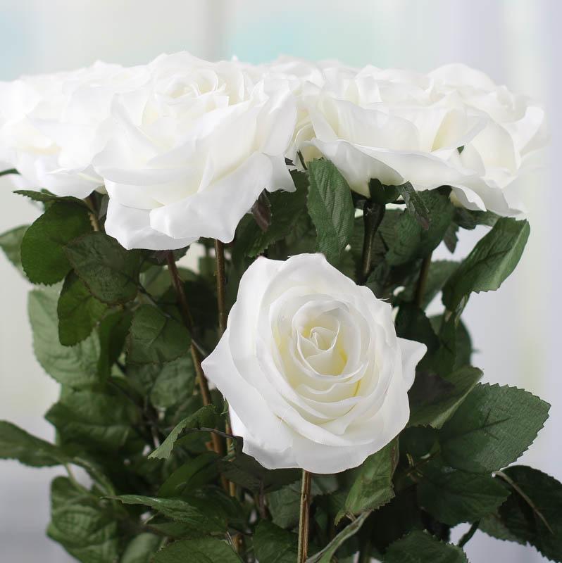 White Artificial Long Stem Roses Bushes Bouquets Floral Supplies Craft Supplies