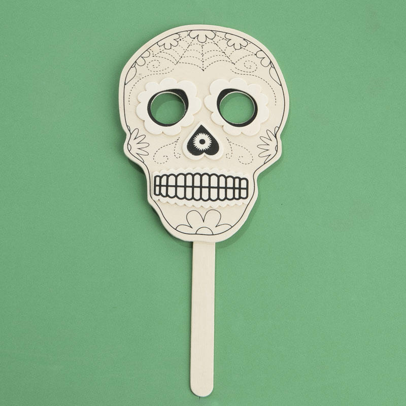 Ready to decorate wood day of the dead mask fall craft for Day of the dead craft supplies