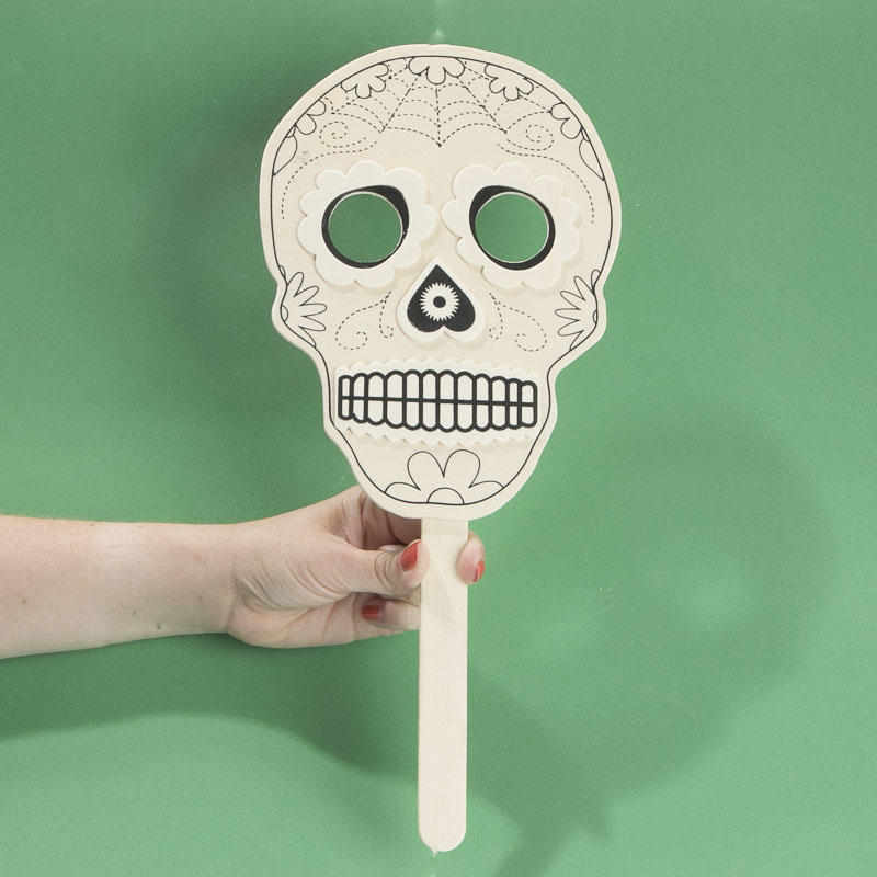 Ready to decorate day of the dead mask wood cutouts for Day of the dead craft supplies