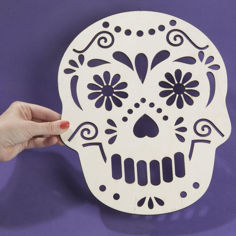 large unfinished wood day of the dead skull cutout wood