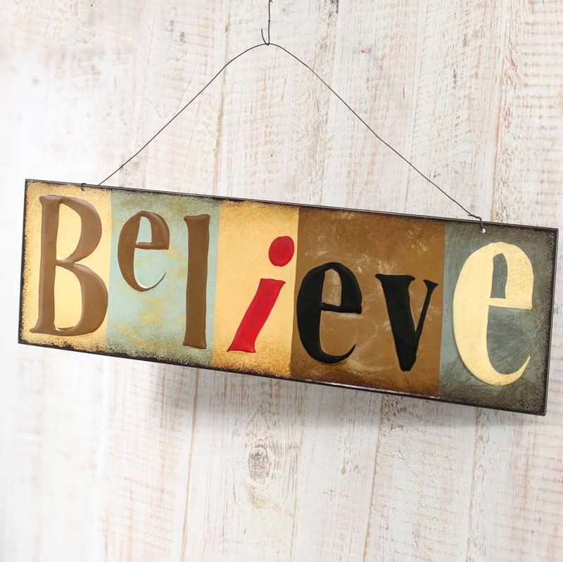 Metal Believe Sign On Sale Home Decor