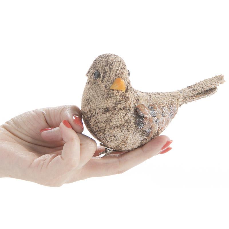 Natural burlap woodland artificial bird birds for Fake birds for crafts