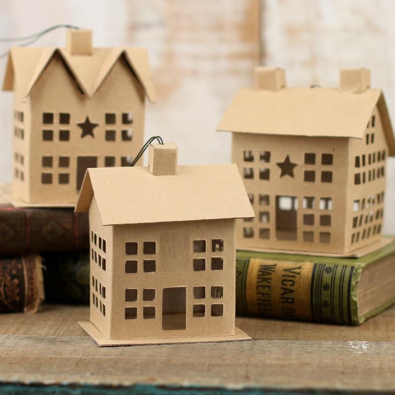 Paper Mache Primitive Saltbox House Ornament Paper Mache
