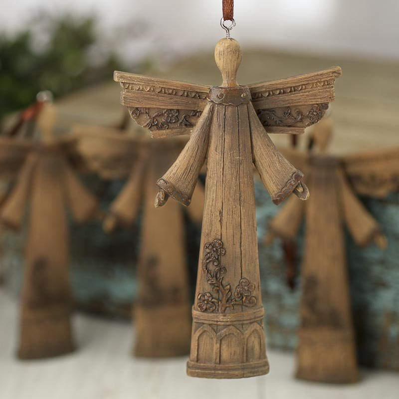 Rustic Faux Wood Angel Ornaments - Christmas Ornaments ...