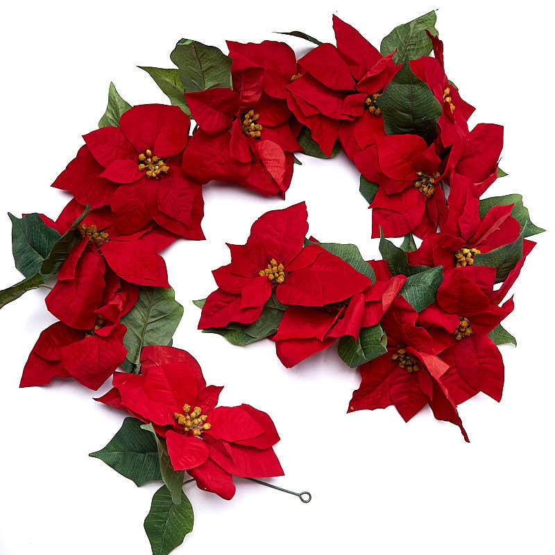 Red velvet artificial poinsettia garland christmas for 5ft poinsettia garland christmas decoration