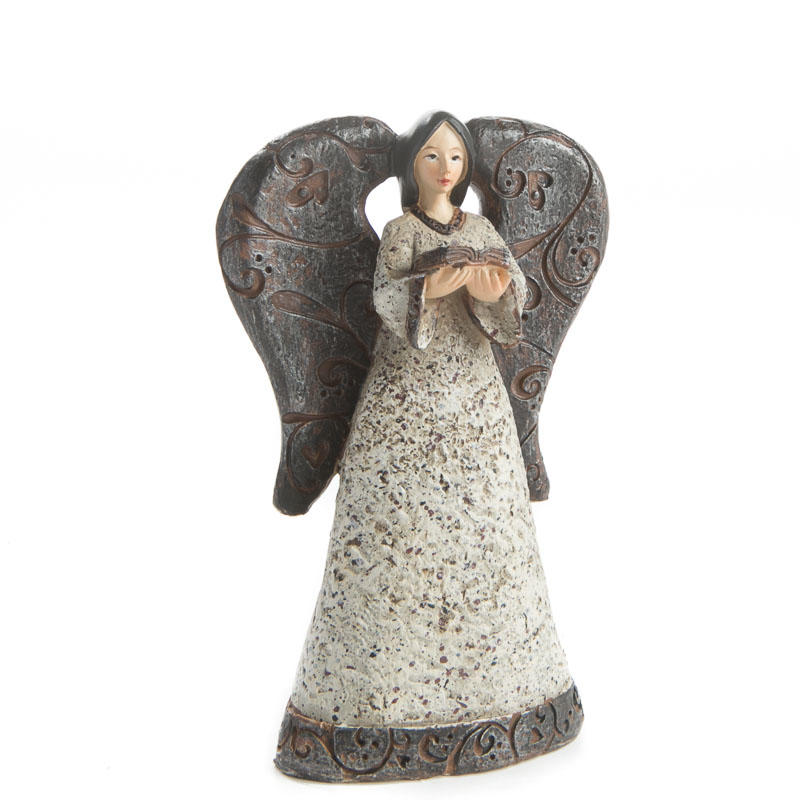 Buy Doll Furnishing Articles Resin Crafts Home Decoration: Rustic Resin Reading Angel
