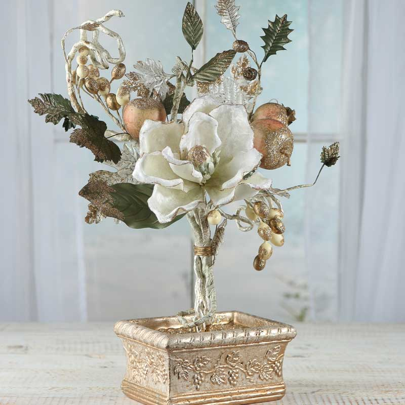 Artificial fruit and magnolia planter table decor home for Artificial pears decoration
