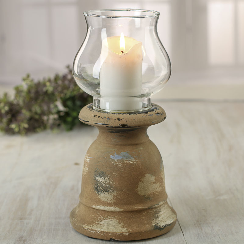 Rustic stoneware and glass candle holder candles and for Rustic house candles