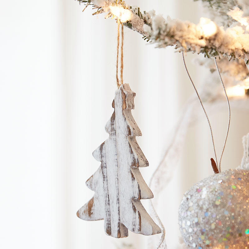 Rustic White Washed Wood Christmas Tree Ornament ...