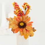 Fall Artificial Leaf and Sunflower Pick