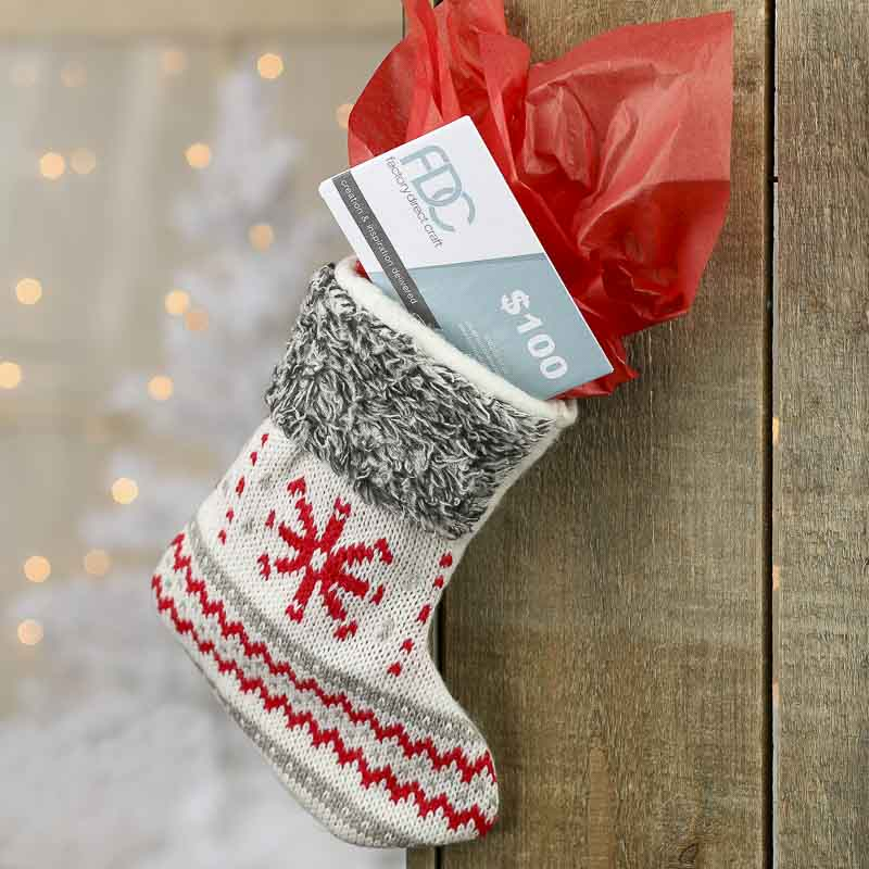 Small Gray And Red Knitted Christmas Stocking Christmas