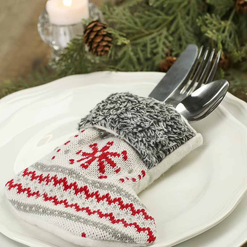 Small Gray And Red Knitted Christmas Stocking Table