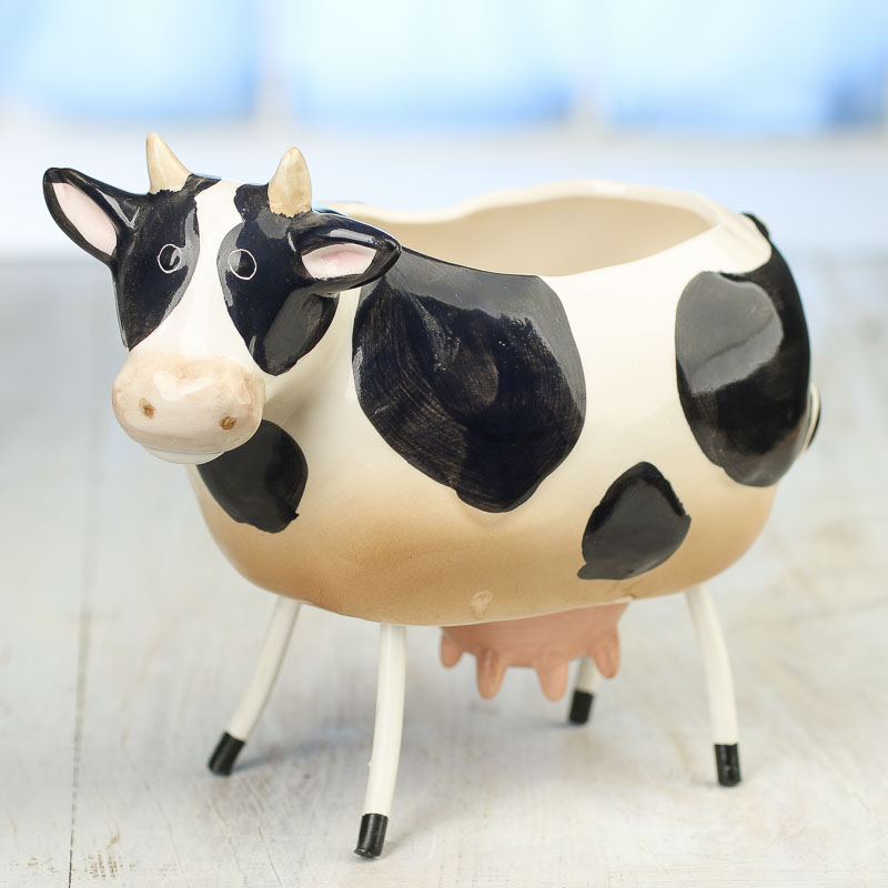 ceramic cow planter decorative containers kitchen and