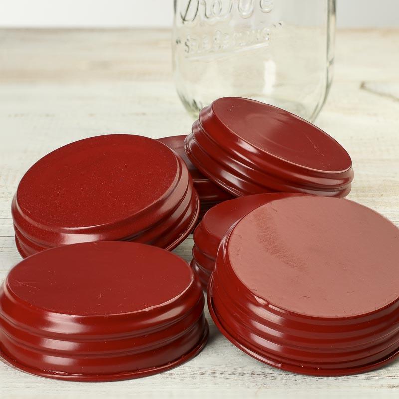 red enamel mason jar lids jar lids basic craft supplies craft supplies. Black Bedroom Furniture Sets. Home Design Ideas