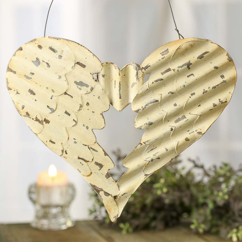 White Washed Rusty Tin Angel Wing Heart Hanger - Wall Art ...