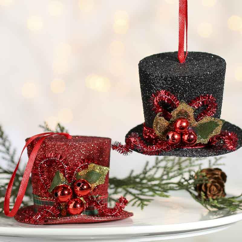 Christmas Top Hat Ornaments.Sparkling Snowman Hat Ornament