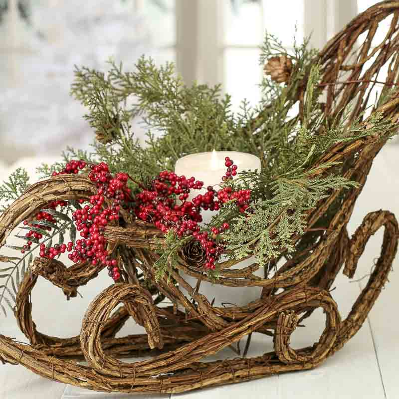 Natural Grapevine Twig Sleigh Table Decor Christmas