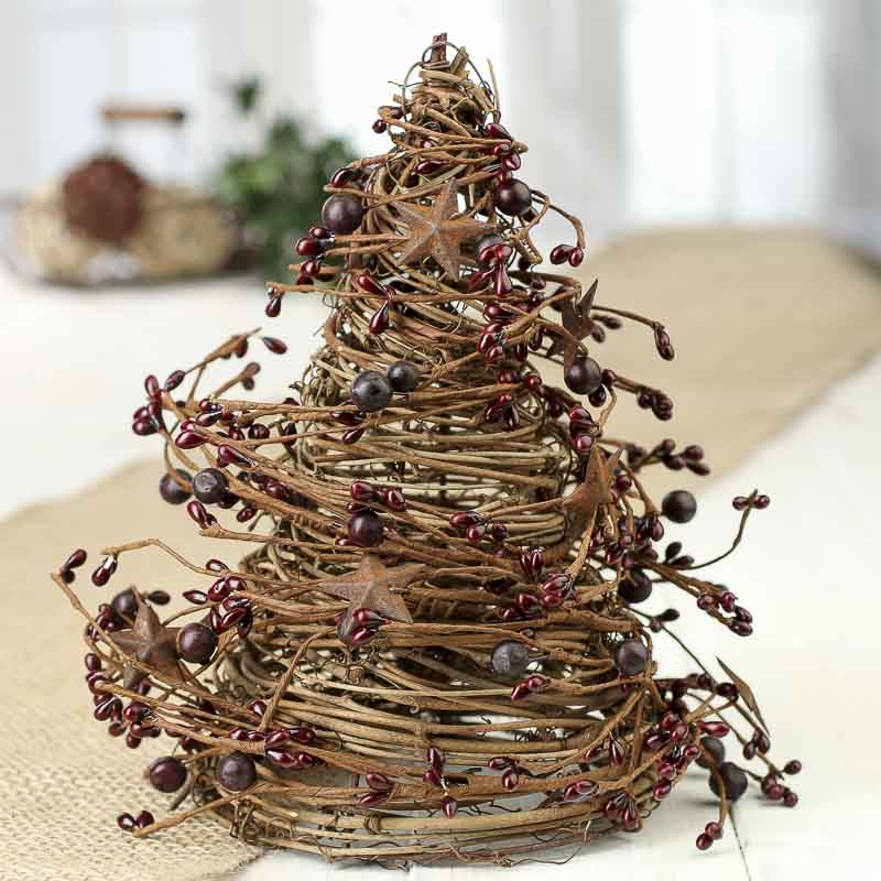 Burgundy Grapevine Twig And Pip Berry Cone Tree Trees