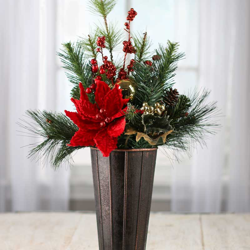 Holiday Artificial Pine And Poinsettia