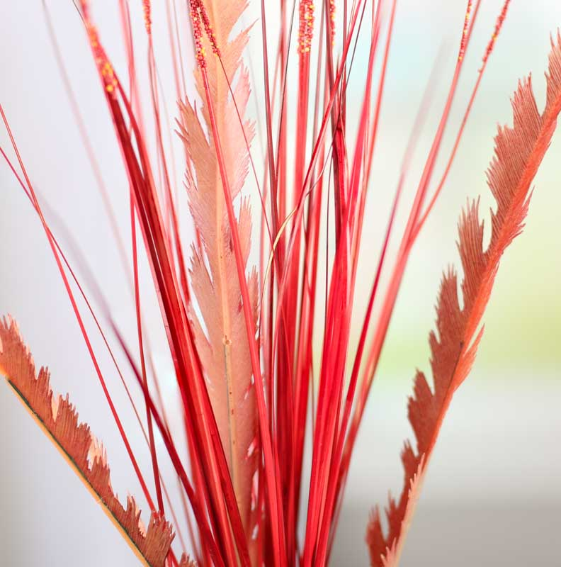 Red artificial feather fern and grass spray picks and for Synthetic feathers for crafts
