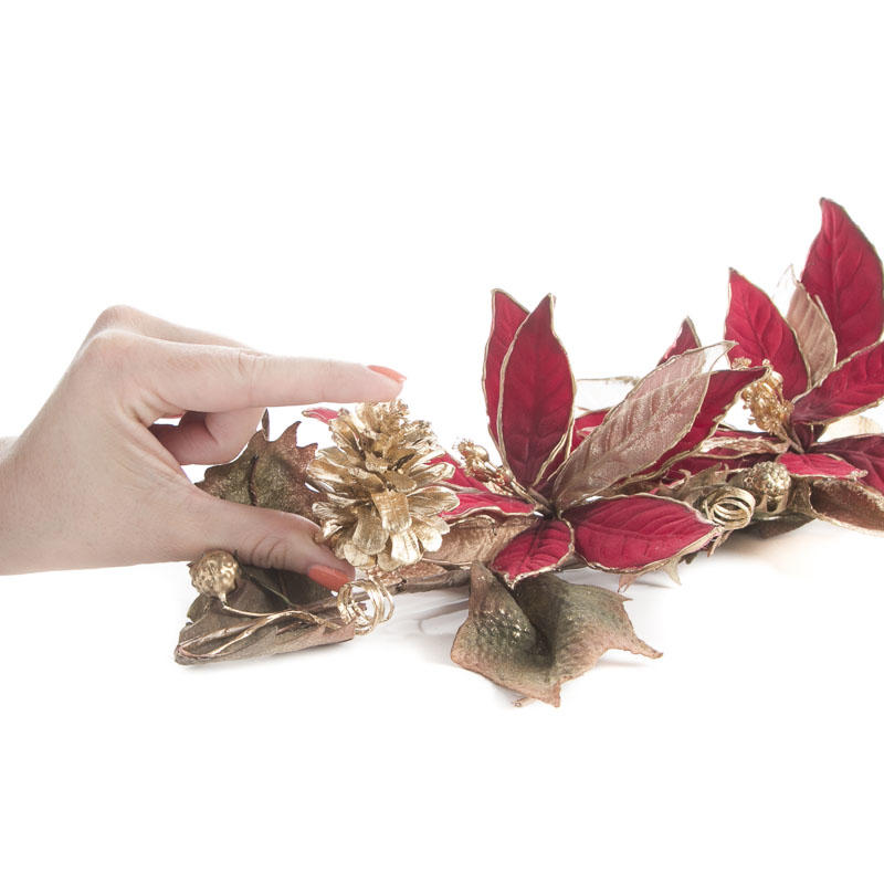 Burgundy and Gold Artificial Poinsettia Swag Wall Decor