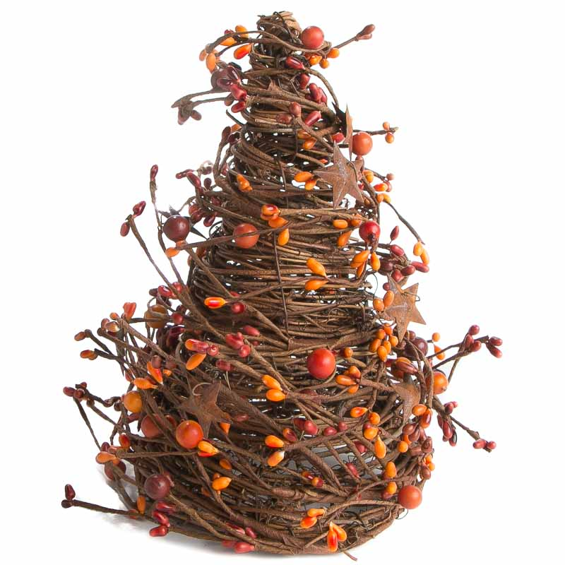 Sunset Orange Grapevine Twig and Pip Berry Cone Tree - Christmas ...