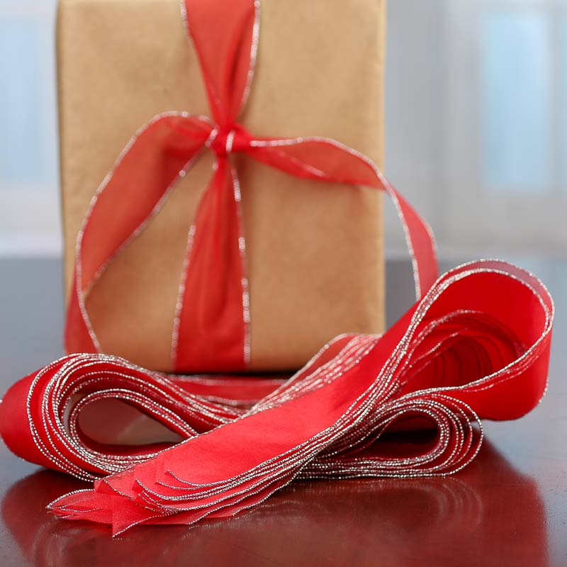 Silver lined red organza ribbons ribbon and trims for Craft ribbons and trims