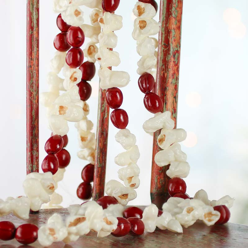 Artificial popcorn and cranberry garland what 39 s new for Artificial cranberries decoration
