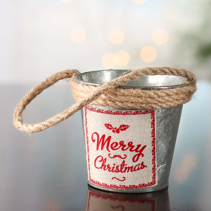 Rustic galvanized merry christmas pail holiday craft for Christmas tin pails