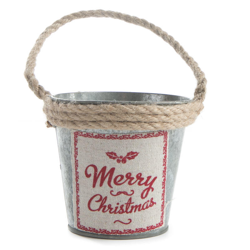 Rustic galvanized merry christmas pail table decor for Christmas tin pails