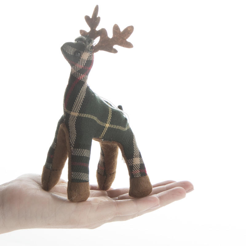 Tartan Plaid Stuffed Reindeer Ornament Christmas