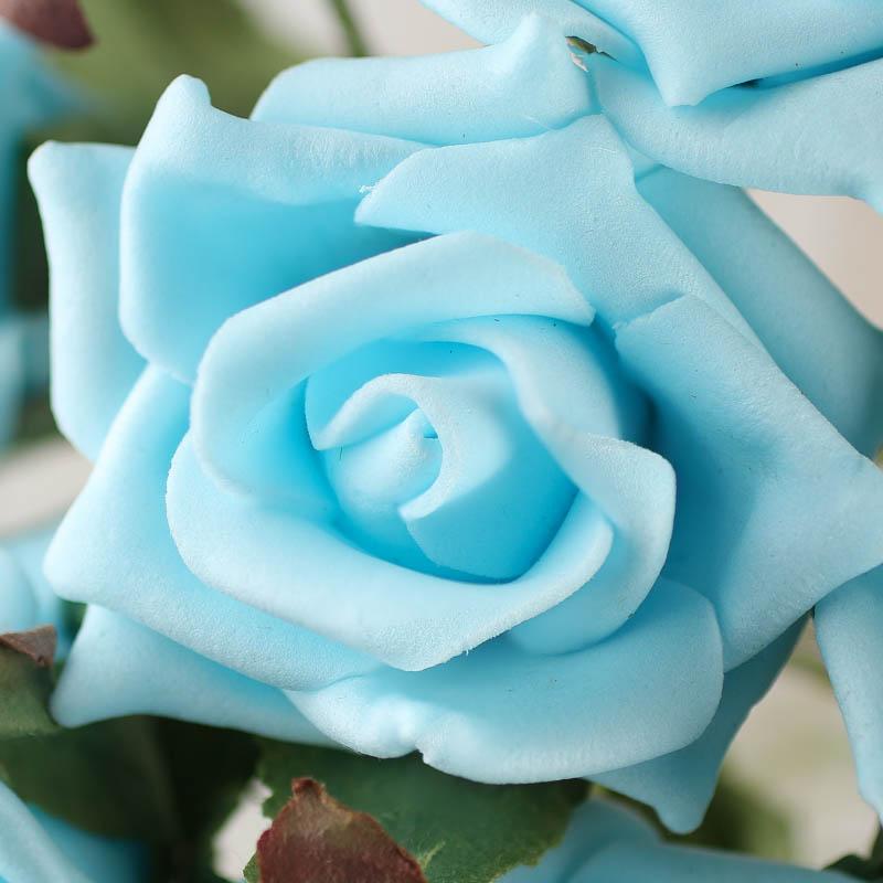 Sky Blue Artificial Rose Bundle Bushes Bouquets