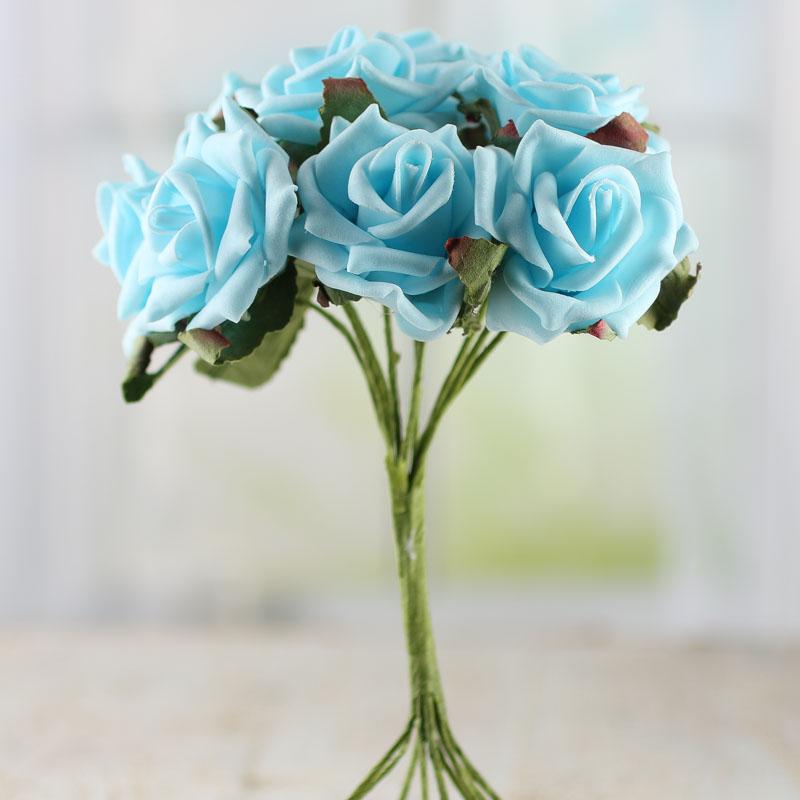 Sky Blue Artificial Rose Bundle Bushes And Bouquets