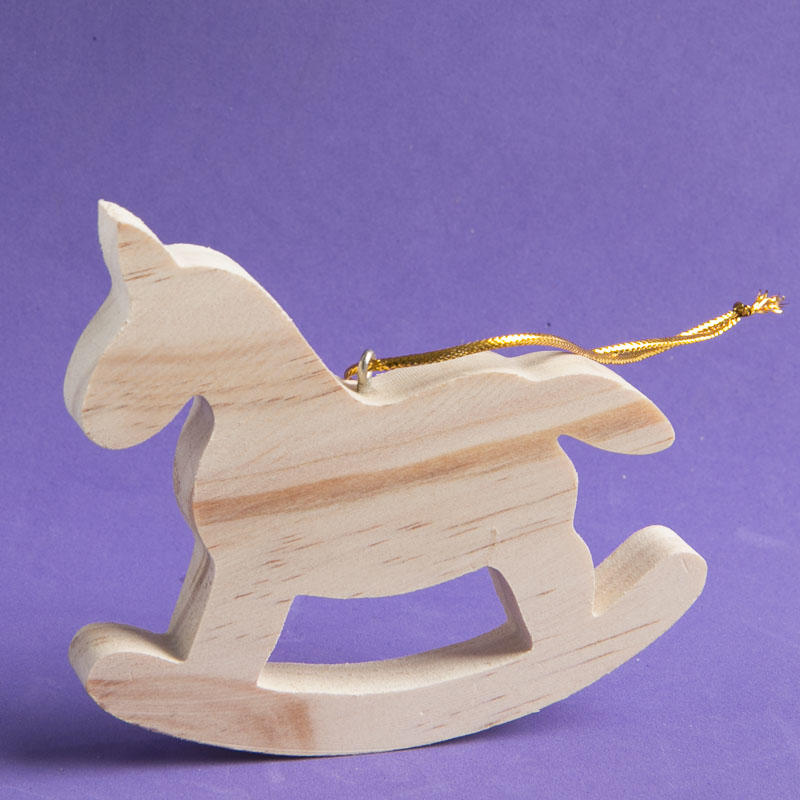 Unfinished wood rocking horse ornament christmas for Wooden horseshoes for crafts