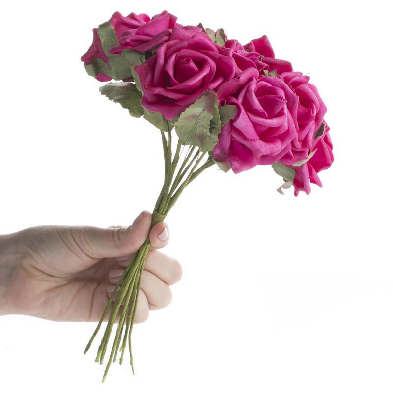 Beauty Pink Artificial Rose Bundle Bushes Bouquets