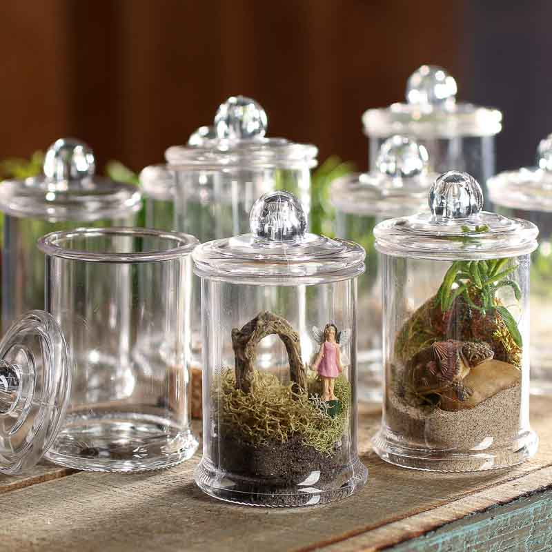 miniature_clear_apothecary_jars Ideas For Clear Kitchen Canisters on acrylic canister sets kitchen, clear plastic kitchen canisters, spray paint a tray for kitchen, clear stools for kitchen, clear canisters with lids, clear canisters in food, canister sets for kitchen,